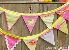 Technically I had been wanting to make a bunting for years, before I even pinned this. But I used the idea to use bias tape from this one.. (I liked the colours in this one but I went with pink and green)