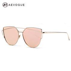 Aevogue サングラス女性2016新加入メタル鼻パッド猫の目サングラス ブランド デザイナー グリーン メッキ uv400 AE0342
