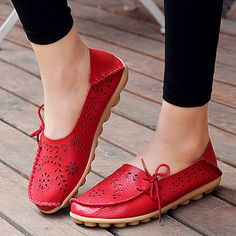 2f54beef476 Aliexpress.com   Buy Women s Genuine Leather Flats Spring Ladies Slip on Red  Hollowed out Loafer Fashion Breathable Black Flat Shoes 2017 Brand New from  ...