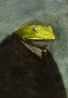 Untitled portrait (frog man), 2007, by Japanese artist & illustrator Akitaka Ito (b 1979). via the artist's site