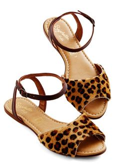 Brand New Sandal in Leopard by Seychelles - Flat, Leather, Mixed Media, Brown, Animal Print, Casual, Spring, Summer, Good, Variation, Statement