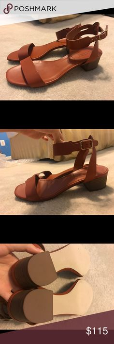 J Crew Italian Leather Sandal Brand new J Crew Leather sandals with gold buckles. Made in Italy. A few minor markings on footbed from storage J. Crew Shoes Sandals
