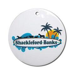 Shackleford Banks NC - Surf Design Ornament (Round on CafePress.com