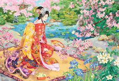 Browse through images in MGL Meiklejohn Graphics Licensing's Haruyo Morita collection. Japanese artist, Haruyo Morita, worked as a kimono painter and designer until 1972 before turning to painting canvases. Now an acclaimed artist her work. Anime Fashion, 2000 Piece Puzzle, Puzzle Pieces, Art Japonais, Japanese Artists, Kirigami, Flowers Nature, Amazon Art, Japanese Culture