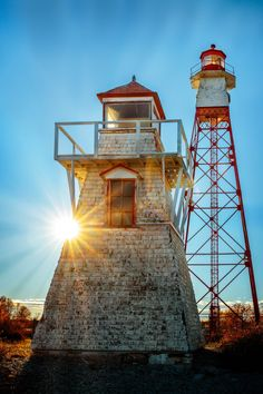 Two Lighthouses Backlighting At Sunset - Lake Winnipeg , Canada Places Around The World, Around The Worlds, Lake Winnipeg, Water Pictures, Beacon Of Light, Unusual Homes, Interesting Buildings, Backlight Photography, Sunset Lake