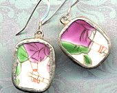 Old Pottery Shards Sterling silver Earrings with purple and green