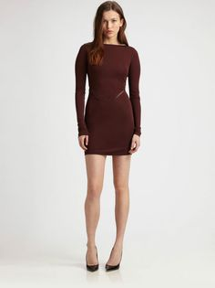 T By Alexander Wang Red Merlot Fitted Meshback Dress Size L