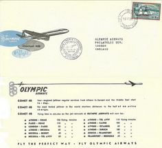 Olympic Airways Comet 4B first flight cover