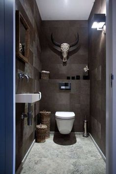 Architecture & Design: 40 Of The Best Modern Small Bathrooms & Functional Toilet Design Ideas – Amazing Architecture Magazine Man Cave Bathroom, Bathroom Toilets, Downstairs Bathroom, Small Toilet Room, Guest Toilet, Small Toilet Design, Modern Small Bathrooms, Modern Bathroom, Industrial Bathroom