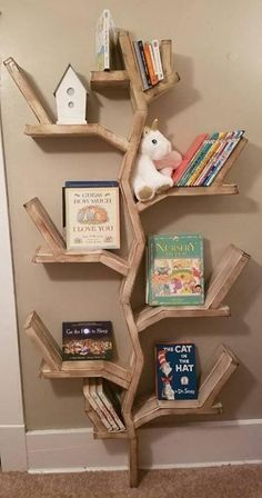 Tree Bookshelf, Nursery Bookshelf, Rustic Bookshelf, Bookshelves In Bedroom, Tree Shelf, Bookshelves Kids, Bookshelf Design, Bookcase Decorating, Decorating Ideas