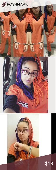 🍊OITNB inspired  🚨Prisoner Halloween Costume🎃 It's never too late to think about your next Halloween costume! I had fun rocking this costume in 2015 inspired by my fav tv show of all times~ OITNB ! I fooled some people into thinking i was going to be casted in OITNB, lol. Maybe one day. Amén! This matching set  comes with its ID. Clean. Couple minor stains pictured, but in good condition . It is very loose on me. I fit into S & M , so Id say anybody from S-XL can get this set & play…