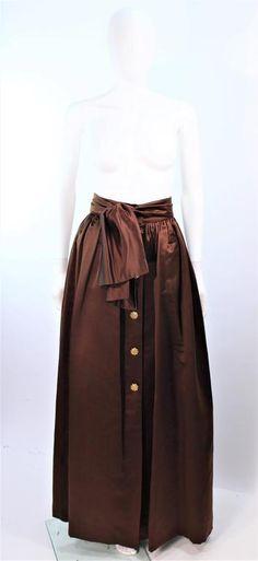 ESCADA Brown Silk Ball Skirt Large Bow 1975-99