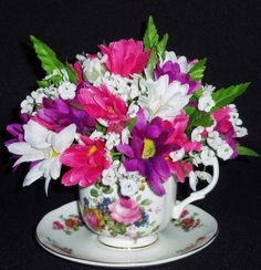 Teacup Silk Floral Arrangement Purple Bright have done with real flowers geraniums look good