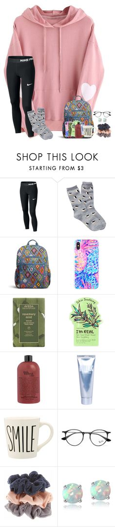 """""""~sick days~"""" by taylortinsley ❤ liked on Polyvore featuring Free Press, Vera Bradley, Lilly Pulitzer, Aveda, TONYMOLY, Lapcos, Ray-Ban and Glitzy Rocks"""