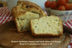 Grated Parmesan cheese and black olives rich bread, fixed in 5 minutes and baked in 20 Fantastic for brunch!