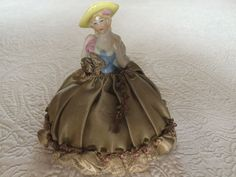 Old VTG Porcelain Half Doll Pin Cushion  #UNBRANDED