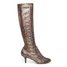 Stretch Bronze Python Patent High Heeled Boots Brand new from Donald J. Pliner.  Save the most from bundling. My normal discount is 20% off of 2 or more items unless I'm running a sale to save more!  Yazi model bronze Python print knee high boots Donald J. Pliner Shoes Heeled Boots