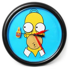 We all know the feeling - watching the clock, waiting until it's time to go home and crack open a beer. Let Homer Simpson do the watching for you with this amusing wall clock - his eyes follow the Duff beer bottle as it ticks round!