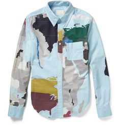 BAND OF OUTSIDERS MAP-PRINT COTTON SHIRT  Its been said a good map is both a useful tool and a magic carpet to faraway places, and although Band of Outsiders printed shirt wont show you the road to Damascus, it will be a valuable addition to your wardrobe. Traditionally tailored from fresh cotton, this multi-coloured design will team with your trouser selection. Keep it cool with relaxed chinos and slip-on sneakers.