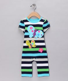 Take a look at this Blue Stripe Butterfly Playsuit - Infant by Lazoo on #zulily today!