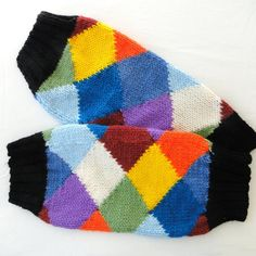 HAND KNITTED HARLEQUIN ACRYLIC LEG WARMERS DESIGNER LEGGINGS MULTI COLOURED