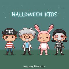 Colección de niños disfrazados de halloween dibujados a mano  Vector Gratis