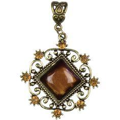 Cousin Jewelry Basics Metal Accent 1/Pkg-Antique Gold Diamond W/Cab - antique gold diamond w/cabochon