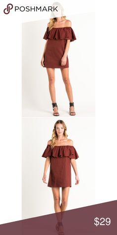 Boho Wine Ruffle Off Shoulder Tunic Dress S M L Wine ruffle off shoulder tunic dress, loose fit, 100% Cotton.  Available in size small, medium, or large.  ARRIVING FRIDAY/SHIPPING SATURDAY!  No Trades, Price Firm unless Bundled.  BUNDLE 3 OR MORE ITEMS FOR 15 % OFF. Boutique Dresses Mini