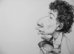 Dear old Bob: a caricature of Bob Dylan done a few days after I bought an album of his - inspired by GERALD SCARFE