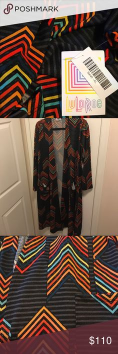 Rainbow 🌈 Chevron LuLaRoe Sarah 🦄 Unicorn XL I can't even tell you how much I IMMEDIATELY LOVED this while scouring FB Consultant pages for my unicorns.... it's so light, comfy, stretchy (9.5 out of 10), and hella chic!! It's the light, slinky, barely sheer material. The background colors are absolutely black and gray. The chevron rainbow colors are true to pics. I've never seen another like this! I love this so much but it's too big. If you can find this in a M, please tag me!! Will fit…