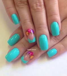 This ring fingernail design is the epitome of sassy; with a unique french tips style and colorful floral crescent moon.