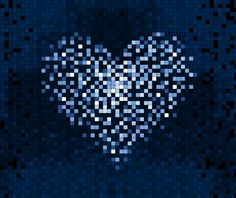 Pixelated Heart icon, digital technology concept background