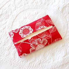 Cute stocking stuffer:  Swiss Miss Red Cotton Fabric Travel Tissue by BoutiqueVintage72, $5.00