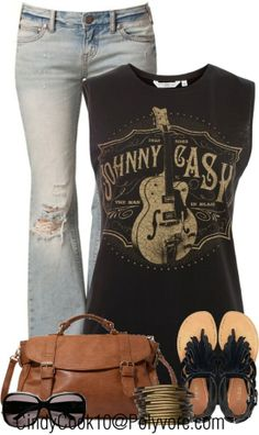 Love this outfit . but since it's a Johnny Cash outfit I would pare it with boots :) Mode Outfits, Fashion Outfits, Womens Fashion, Ladies Fashion, Mode Style, Style Me, Mode Country, Country Chic, Summer Outfits