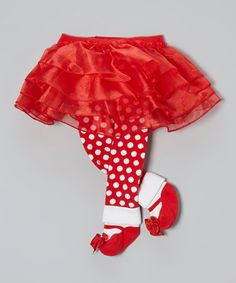 Take a look at this Red & White Tutu Footie Leggings by Bearington Collection on #zulily today!