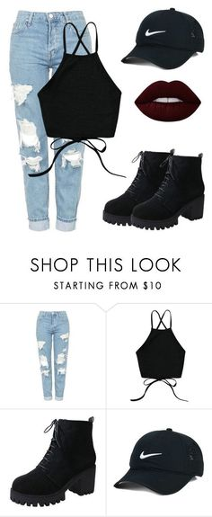 """Untitled #10"" by evelinefeitosaneres on Polyvore featuring Topshop, NIKE and Lime Crime"