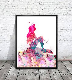 Ariel 2 aquarelle imprimer, Disney, peinture, aquarelle, aquarelle art, art de Disney, bébé de pépinière de salle, princesse d'impression, Ariel,