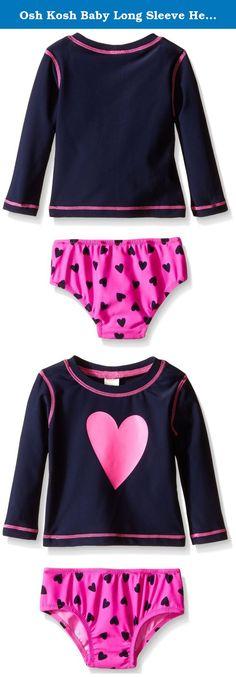 7cfef0bdee Osh Kosh Baby Long Sleeve Heart Rash Guard Set, Navy, 24 Months. Baby girl  long sleeve heart rash guard set.