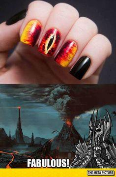Eye of sauron nail art fun nerd LOTR Thranduil, Legolas, Uñas Diy, O Hobbit, J. R. R. Tolkien, One Ring, Geek Culture, Lord Of The Rings, Middle Earth