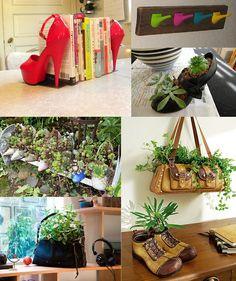 Reutilizando zapatos y bolsas