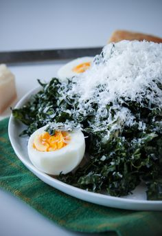 Kale Caesar Salad with Hard-Boiled Eggs