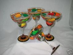 painted glass ware | Hand Painted Margarita Glasses with Vibrant Chili Peppers set of 4