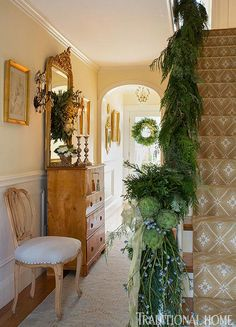 Festive Holiday Staircases and Entryways | Traditional Home..... I love this, it's beautiful
