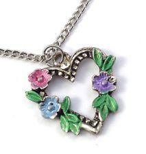 Vintage Silver Tone Pastel Enamel Flower Leaf Heart Rhinestone Necklace Pendant http://www.ebay.com/itm/Vintage-Silver-Tone-Pastel-Enamel-Flower-Leaf-Heart-Rhinestone-Necklace-Pendant-/141640818687?pt=LH_DefaultDomain_0&hash=item20fa735fff