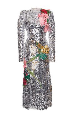 Sequined Long Sleeve Dress With Organza Flowers by DOLCE & GABBANA for Preorder on Moda Operandi