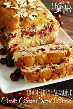 My favorite Christmas bread... SO GOOD!!! I love everything about this Cranberry Almond Bread. Every bite tastes like Christmas! Believe me, I really could have eaten every. last. bite. You can't really see the cream cheese swirl after it bakes, but trust me, it's there.