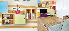 A estante, feita sob medida, é desmontável. Os cubos de madeira estão encaixados nas réguas fixadas na parede