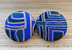 Geometric Cobalt Button Earrings by Styledentity on Etsy, $8.00