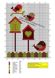 oiseau - bird - nichoirs - Point de croix - cross stitch - Blog : http://broderiemimie44.canalblog.com/