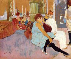 The Salon in the Rue des Moulins, 1894 by Henri de Toulouse-Lautrec. Art Nouveau (Modern), Post-Impressionism. genre painting. Musee Toulouse Lautrec